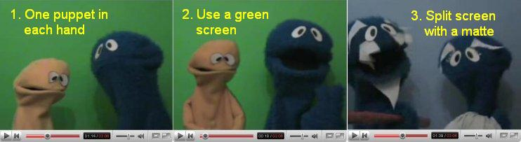 Three ways of putting two puppets on screen with only one puppeteer