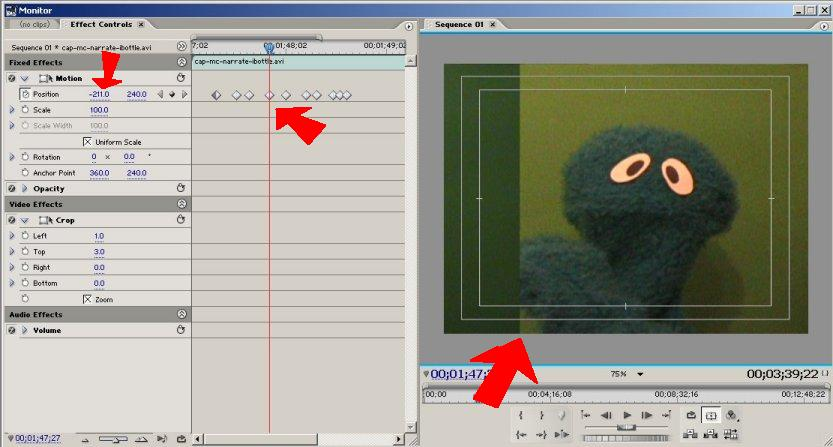 Many keyframes for precise positioning of frame